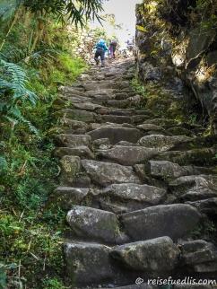 Steile Steintreppe kurz vor dem Sonentor mit Blick auf die Inkastadt Machu Picchu